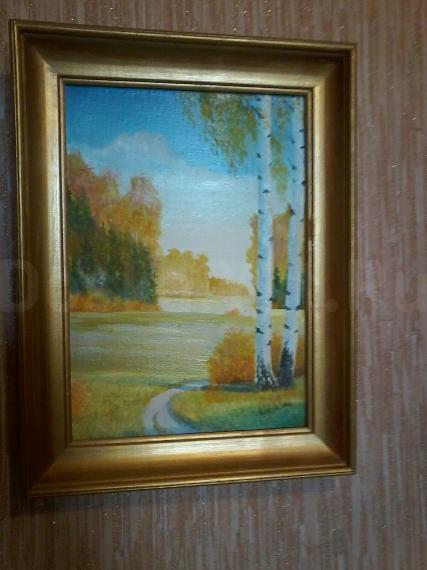 """картина""""осень"""" холст,масло.28см/36см подпись якутского художника."""