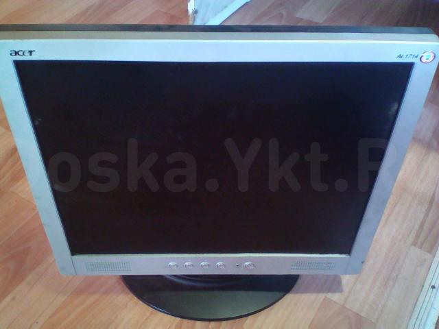 ЖК монитор Асер 17дюймов с разбитым экраном (полоски) без блока питания .  250р
