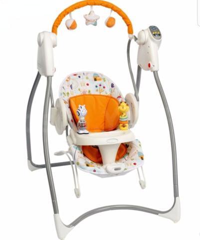 Уникальная модель 2-в-1: качели + кресло-качалка  Особенности:  6 скоростей для использования в качестве качелей; 2 скорости для спокойного покачивания в кресле качалке; очень мягкое сидение для максимального комфорта; 3 положения наклона кресла; простое крепление подноса; снимаемый подголовник; складывание и разборка для хранения; чехол на кресло стирается в машинке; ручки для переноса кресла-качалки; электронный блок с музыкой, звуками природы, таймер для автоматического отключения; батарейки: 4хDxLR20 (1,5V) (в комплект не входят); качели предназначены для малышей до 9 кг; размеры качелей: 86х70х96 см; размеры кресла: 65х44х53 см; игрушки на подносе В КОМПЛЕКТЕ.  б/у, в отличном состоянии