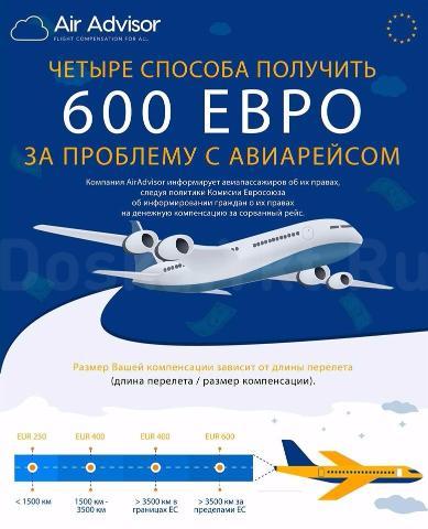 AirAdvisor это международная компания, которая защищает права авиапассажиров и взыскивает до 600 ЕВРО авиа компенсации каждому пассажиру, чей рейс был отменен, задержан или кому отказали в посадке (покрывает рейсы за последние 3 года). Компания также возвращает стоимость неиспользованного билета и имеет офисы в Европе и СНГ, но основана нашими соотечественниками. Право на компенсацию не зависит от гражданства пассажира и установлено законодательством Европейского Союза, России, Турции, США, Индии и ряда других стран.  Удобный интерфейс нашего сайта поможет вам бесплатно и за пару минут подать свою заявку на рассмотрение, мгновенно сообщив размер Вашей компенсации. Обратившись в AirAdvisor клиент ничем не рискует и ничего не платит. Компания получает свой процент только от взысканной компенсации. AirAdvisor также предоставляет ценную информацию о возможных скидках, новых рейсах и предупреждения для своих клиентов, чтобы обеспечить безопасное и комфортное путешествие. Вы можете подать заявку на компенсацию на сайте AirAdvisor (http://www.airadvisor.com/), по email (info@airadvisor.com) или социальные сети (@AirAdvisor). Единственный робочий номер телефона 380997227871.