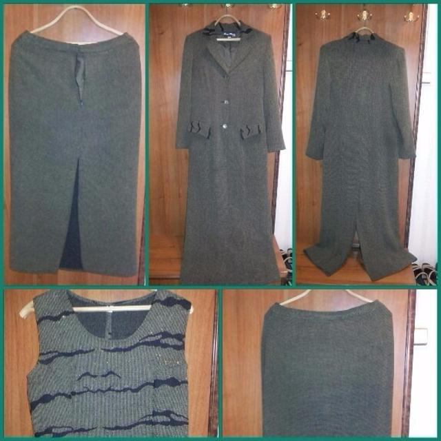 Костюм 3 вещи, на даму не ниже 165. Рр.46, пальто, безрукавка, юбка длина прим.85 см., состояние хорошее, цена 800руб.или меняю на подгузники (памперс 4). возможен торг.