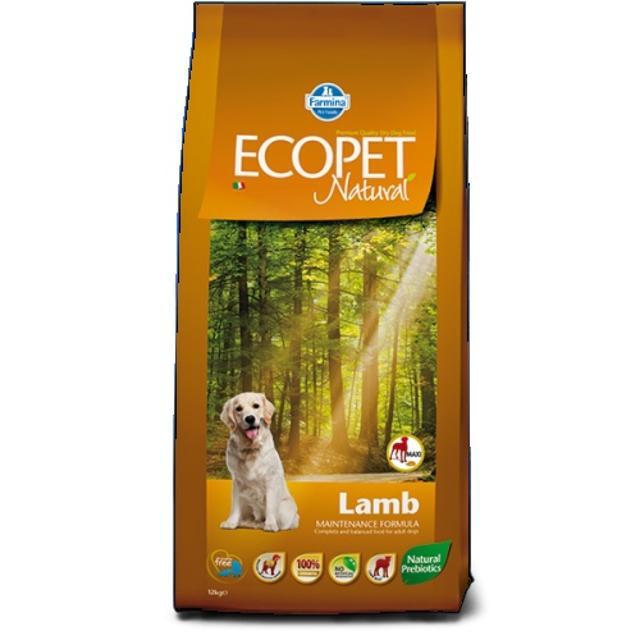 Продам корм премиум класса ecopet natural от farmina со вкусом ягнёнка для взрослых собак крупных пород. Мешок 12 кг, открытый, отсутсвует только 500 гр.
