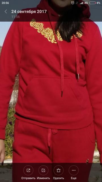 Продаю спортивный костюм в национальном стиле, красный с узорами, от TANAS, размер 48, в отличном состоянии, фото по ватсап