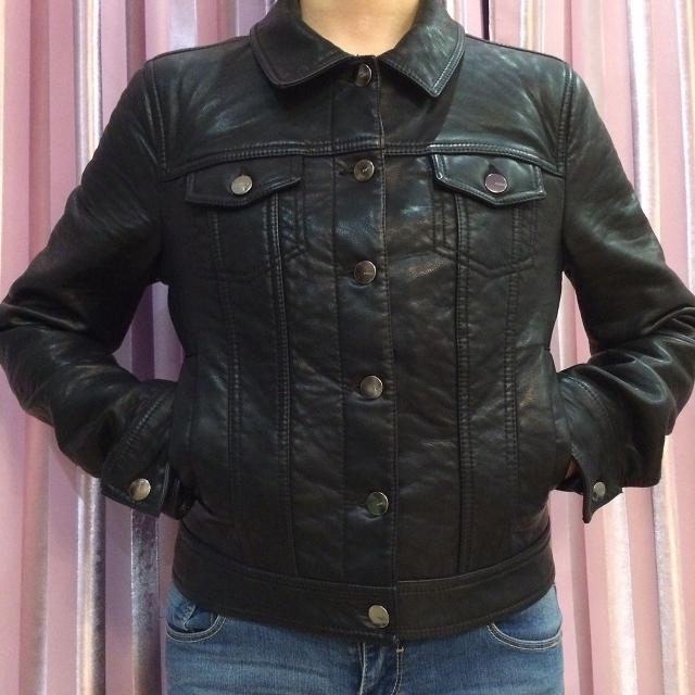 Куртка кожаная Mango, разм 42/44(S), цвет черный