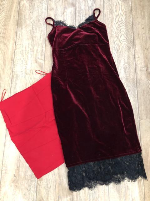Продам платья бу 42 размера синее HM за 400 рб Бордовое бархатное платье Кира Поастинина  за 800 рб Юбка в подарок