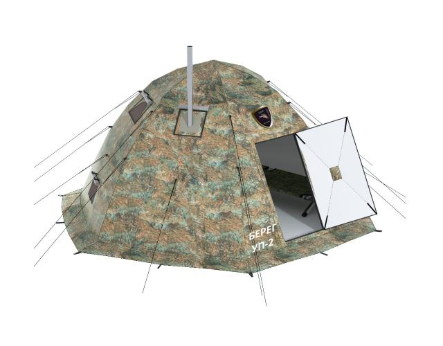 """УП 2 мини, универсальная, двухслойная, 4 местная, быстросборная палатка, шатрового типа на шести лучевом каркасе. Время сборки - 30 секунд. Показатели Диаметр, м - 2,7 Высота, м - 1,8 Вес, кг - 13,5 Вес в коробке, кг - 14,5 Габариты в сложенном виде, м - 1,35*0,2 Дно - есть Сплав каркаса - Алюминий В95Т1 Толщина прутка каркаса, мм - 8 Швы - проклеенные Материалы тента - Оксфорд 300 с PU - пропиткой 4000 мм Количество тентов, шт. - 2 Вид упаковки - сумка Вместимость, кол. чел. (без печи) - 4 Комплектация Палатка - 1 шт. Распашная дверь - 1 шт. Козырек на вход - 1 шт. Коврик из термоткани - 1 шт. Фиксирующий болт - 1 шт. Колышки - 1 комплект Оттяжные стропы - 1 комплект Сумка - 1 шт. Инструкция и гарантийный талон - 1 шт. Оборудование палатки 1. Один вход с москитной сеткой на молнии 2. Молния над входом для пристегивания тамбура или перехода-соединителя 3. Два пятислойных окна (бойницы) с ветрозащитными и влагозащитными шторками, москитными сетками 4. Разделка дымохода, стандартный размер 90 мм (возможна комплектация диаметром 100 мм) 5. Два кармана с двумя отсеками на молнии 6. Дно на молнии 7. Петли на внутреннем тенте для сушки вещей или крепления фонарика. Есть возможность пристегнуть сетку 8. Козырек, установленный над входом, для комфортного использования палатки в снег и дождь. Крепится пуговицами, при необходимости отстегивается 9. Вентиляционное окно Возможности применения УП-2 мини - Летняя палатка - Зимний жилой модуль - Шатер - Баня - Рыболовная палатка Доставка в ваш город транспортной компанией """"КИТ"""""""