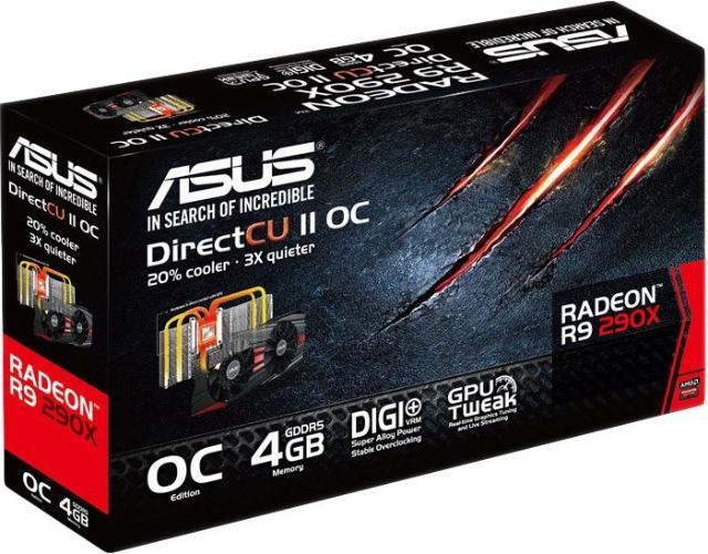 Очень мощная видеокарта от ASUS, AMD Radeon R9 290X DirectCU II Тянет все современные игры на максимально доступных настройках Питание 8pin+6pin
