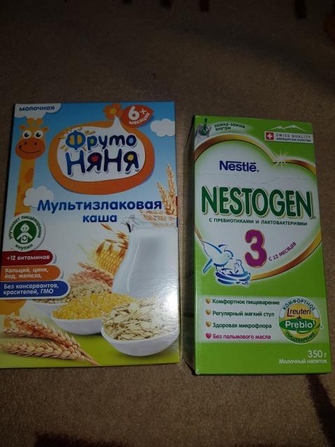 Продаю молочную смесь нестожен 3 (6пачек) по 250 руб. Каша фруто няня по 60руб. (8 пачек) оптом 1700 руб.