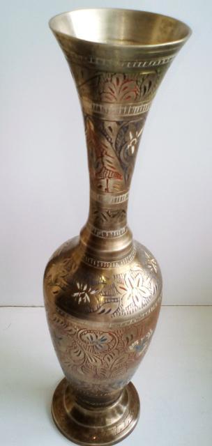 Ваза Винтаж Индия,ручная работа,ручная гравировка и роспись,латунь +бронза,привезена в 70х годах из Индии