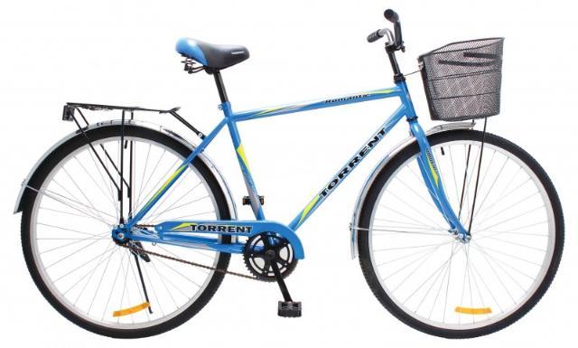 Велосипед Torrent Romantic (дорожный, мужская рама сталь, 1скорость, колеса 28д, корзина).Дорожный велосипед Torrent Romantic – простой и долговечный транспорт, классический велосипед, созданный для передвижения по дорогам. Нетребователен к обслуживанию. Отличный способ удобно передвигаться по городу или сельской мечтности и всегда быть в тонусе