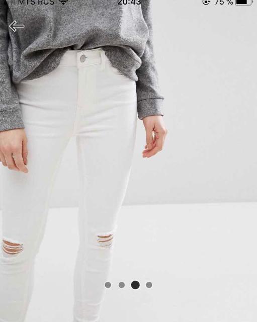 Продаю новые белые джинсы бренда New Look, размер 42. Может подойти и 44 разм. Причина продажи - размер не подошел, так как магазин выслал другой размер. Торг не предлагать. Самовывоз с района р. Манньыаттаах. Для примерки оставьте сообщение.