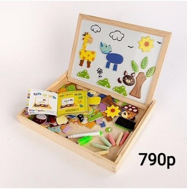 """Чудо-чемоданчик """"Зоопарк"""". прекрасный развивающий набор. На двусторонней доске дети могут рисовать мелками и маркерами. Из магнитных, красивых и ярких деталей можно создать оригинальную картинку. Чемоданчик поможет развить мелкую моторику, логическое и пространственное мышление. Компактный размер позволяет брать с собой и в поездки💃 Материал: дерево В комплект входят: чемоданчик с двусторонней доской (маркерная и грифельная), мелки, губка для стирания доски, маркер, магниты. Размер 30х23см Прекрасный подарок вашему ребенку 😊"""