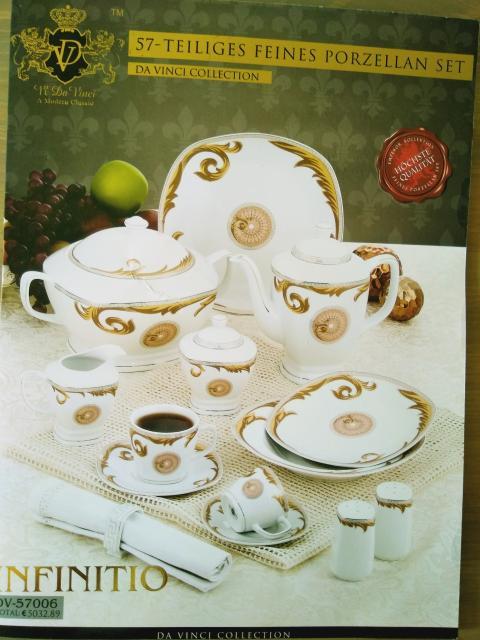 """Изящный и поистине шикарный итальянский сервиз """"Da Vinci Infinitio"""" из элитного фарфора, который славится своей прочностью и повышенными противоударными свойствами. Украшен безупречным золотым и серебряным декором. Включает все необходимые предметы для сервировки стола к обеду, к ужину и просто к чаепитию: чашка(90мл) для кофе с блюдцем 6+6шт; чашка(180мл) для чая с блюдцем 6+6шт; тарелка для десерта 20см-6шт; тарелка для супа 22см-6шт; тарелка большая 27см-6шт; кольцо для салфеток-6шт; кастрюля для горячего с крышкой 2,6л; чайник с крышкой 1,2л; сахарница; молочник; солонка; перечница. Возможен торг!"""