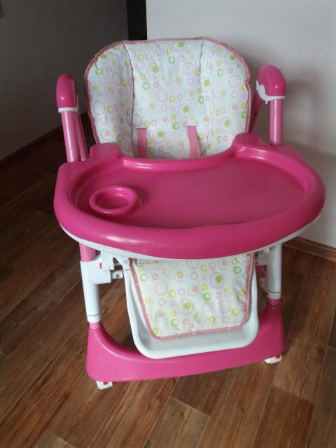 Красивый розовенький стульчик для девочки ) 3 положении, высота 6 положений. В положении лёжа можно смело с малых месяцев начинать... и до 3-4х лет.