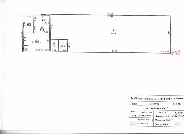 Продается здание по Автодорожной 7. Площадью 583.4, Офисная часть 129.3 кв.м., гаражная часть 454.1 кв.м. высота 5.23 м. цена 6300т.р.