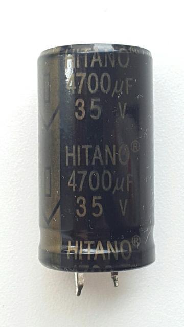 Конденсаторы 4700 мкФ 35 В Hitano EHL 105 градусов Подойдет для аудиотехники - усилителя, и т.п. Диаметр 23 мм Длина 40 мм 120 руб за 1 шт.