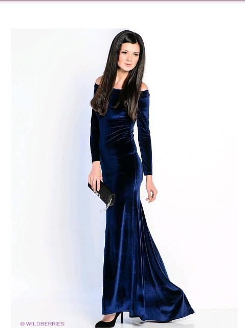 Платье вечернее, размер 40-42. Элегантное, смотрится дорого, темно синее, стрейч велюр, не мнется. Б/у пару раз. Состояние отличное.