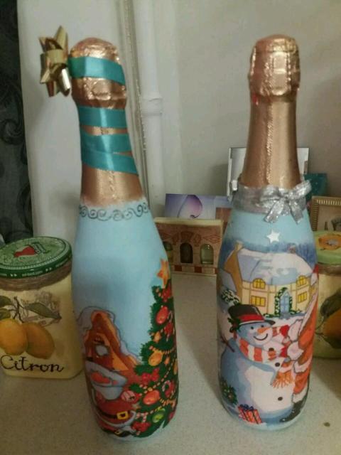 Декупаж шампанского. Предлагается к продаже декупаж ручной работы на тему нового года. Цена за декупаж 600 руб.