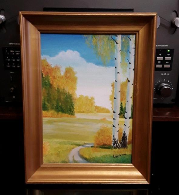 """Картина якутского художника""""ОСЕНЬ"""" холст,масло, подрамник, багет. Размер: 28см 36см, в углу подпись художника. ц.2.000р. 89659938147."""
