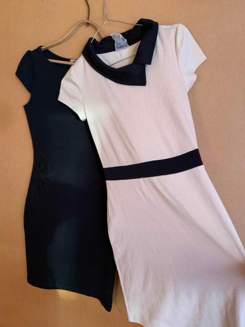 Продаю платье 40-42 размера. Черное и бежевое - 500 руб и вишнёвая 500