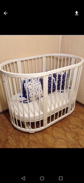 Кровать трансформер 3в1 с матрасом, цвет белый, новый