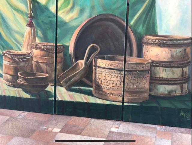 Продаю картину «Якутские национальные посуды» 120х70 холст масло