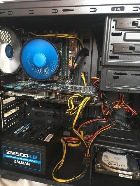 Отличный системный блок: - Процессор Intel® Core™ i3-6100 Processor, 3M Cache, 3.70 GHz Socket 1151 + кулер Deepcool Gamma Archer - Материнская плата MSI H110 PRO-D (Socket LGA1151 ✓Intel H110 ✓1 слот 16x PCI-E ✓1x DVI-D ✓1 Гбит / с ✓MicroATX ✓2x DDR4) - Оперативная память 8GB DDR4 2400MHz - Видеокарта 2GB Gigabyte Windforce GeForce GTX 670 OC (мощная, разогнанная с завода) - SSD 120GB под Windows + 500GB SATA HDD под файлы, игры - Корпус Zalman Z1 Neo (3 родных вентилятора внутри, просторный корпус) - БП Zalman 500W  Комплектующие проходят все тесты (Furmark, HDD, CPU). Имеются коробки от комплектующих, были куплены с магазина. Тянет все игры. Установлены игры Watch Dogs 2, GTA5, Ведьмак3.