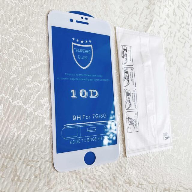 Новое защитное стекло на Айфон 7 и на Айфон 8 белого цвета