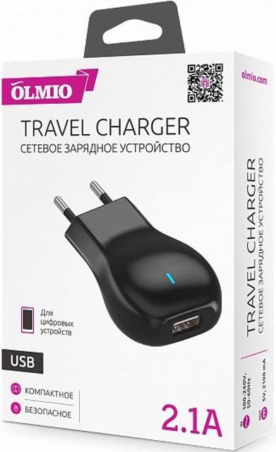 Сетевое зарядное устройство OLMIO USB 2.1 A