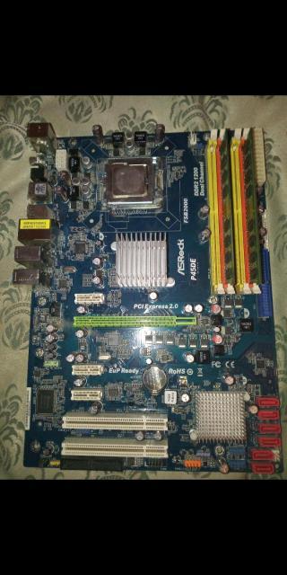 Материнка: asrock p45DE  Процессор intel q8300 2.50GHZ на сокете 775 Оперативная память две плашки по 2gb DDR2