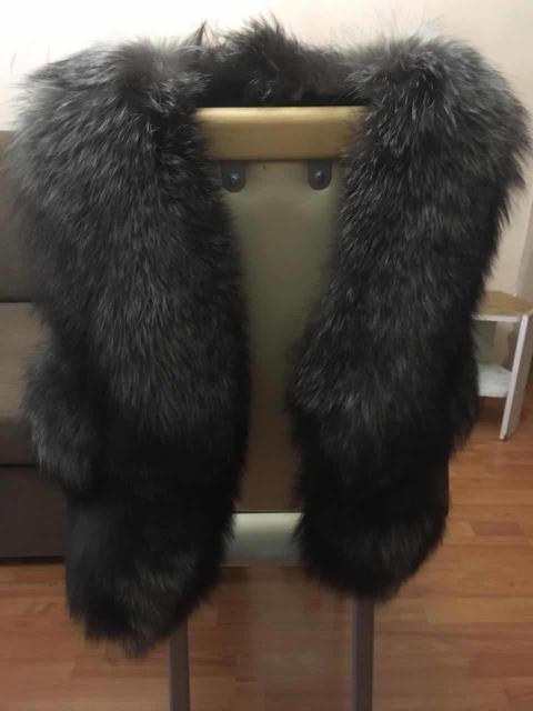 Новый жилет из чернобурки с отделкой из натуральной кожи,размер 44-46 89142268107