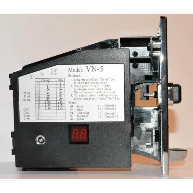Программируемый монетоприемный механизм VN-5 принимает до 12 типов монет.  Технические характеристики: 1. Питание: DC12 В 2. энергопотребление: Режим ожидания : 0.1A, Максимальное: 0.5A. 3. допустимая температура окружающей среды при работе устр-ва: -10 C ~ +70 C . 4. допустимая температура окружающей среды при хранении: -20 C ~ +80 C . 5. допустимая влажность окружающей среды: 30% ~ 85% (без образования конденсата). 6. Диаметр принимаемых монет: от 16 мм до 32.5 мм. 7. Толщина принимаемых монет: 1.0 мм до 3.4 мм 8. Для упрощения процедуры программирования устройство оборудовано световым дисплеем, для программирование НЕ требуется компьютер, все данные можно вносить непосредственно у аппарата.