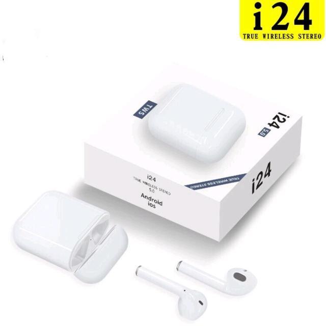Подробная информация о продукции  i24 Беспроводная Bluetooth-гарнитура всплывающая анимация настоящие стерео наушники (Чип Bluetooth V5.0) Номер модели: I24 TWS  Особенности продукта: Версия Bluetooth: версия 5.0 Расстояние передачи: открытый прямой линии 10-20 метров Емкость аккумулятора: чистый кобальт 35 мАч Зарядка аккумулятора: 500 мАч Время прослушивания музыки: 3 часа Время разговора: 4 часа Время ожидания: 120 часов Время зарядки: 50 минут Рабочий ток: 10-13MA Ток в режиме ожидания: 4uA -Bluetooth класс --- класс2 и класс3 полоса частот --- 2,4-2,485 ГГц -модуляционный процесс --- ГФСК -Максимум.мощность передатчика --- + 2DBm  i24 TWS метод сопряжения: Сопряжение телефона Apple: переверните телефон рядом с всплывающим окном мобильного телефона, нажмите на ссылку! Метод сопряжения с телефоном Android: откройте крышку зарядного устройства, а затем откройте соединение Bluetooth для поиска Bluetooth на телефоне!  i24 TWS Подсказка: Приглашение при загрузке: POWER ON Отключение подсказки: выключение Запрос статуса сопряжения: очистка Запрос на подключение: ваше устройство подключено Отключено: ваше устройство отключено Низкий заряд батареи: низкий заряд батареи  I24 tws сенсорная функция: Нажмите и удерживайте в течение пяти секунд для загрузки. Нажмите и удерживайте в течение пяти секунд, чтобы выключить. Двойной щелчок по музыке, пауза / воспроизведение / ответ на звонок / отбой, Длительное нажатие в течение трех секунд, чтобы разбудить Сири Левое ухо тройной удар по следующей песне Правое ухо три комбо следующая песня  Инструкция по зарядке i24 TWS: Индикатор зарядки наушников: горит красный индикатор зарядки наушников, а красный индикатор гаснет, когда батарея полностью заряжена. 1. Когда зарядное устройство заряжает наушники: красный светодиод на зарядном устройстве мигает, а красный светодиод гаснет после заполнения наушников. 2. При зарядке зарядного устройства: мигает красный светодиод на зарядном устройстве