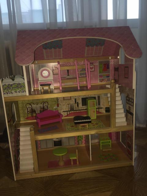 Трёх этажный домик с мебелью для девочек, отличный подарок к Новому году