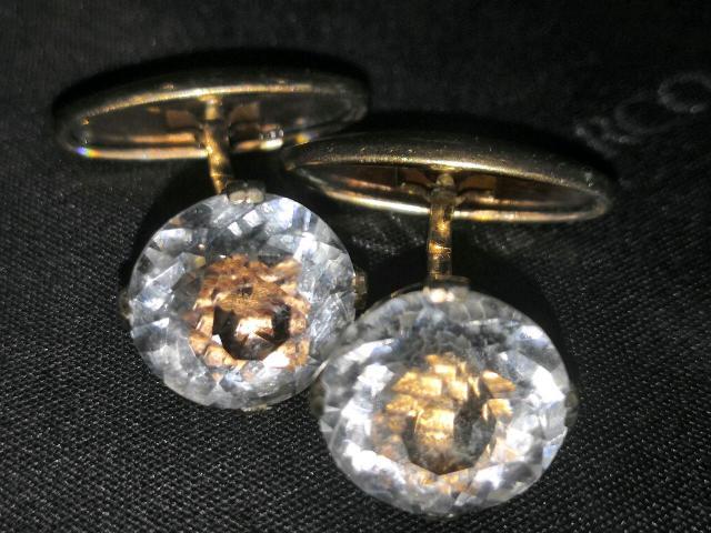 Серебряные запанки СССР пара 875 пробы с звёздочкой, хрусталь