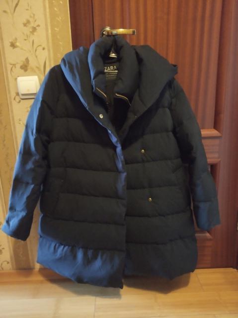 """Продам новый фирменный пуховик (пальто) """"ZARA BASIC"""" размер XL. Состав: Внешняя часть 100% полиэстер; подкладка 100% полиэстер; наполнитель 70% пух серой утки, 30% перо. Куплена Москве за 7900р."""
