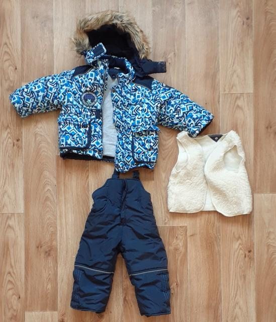 Зимний комплект для мальчика фирмы Rusland, размер 86: куртка с капюшоном, брюки-полукомбинезон, съёмная овчинная подстежка. Б/у, в отличном состоянии.