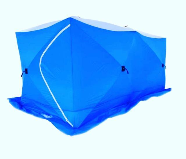 Зимняя палатка КУБ, Прорезиненная, 3.60*1.80*2.05 м Быстросборные/разборные палатки каркасной конструкции. Каркас из стекловолокна обеспечивает надежное сохранение кубической формы в самый сильный ветер и препятствует накоплению влаги и снега на крыше палаток. Тент - прочный, водостойкий и термосберегающий материал, с широкой по всему периметру снегозащитной юбкой. прозрачные окна при необходимости можно снять или полностью закрыть в зависимости от условий ловли.  При транспортировке палатка складывается в прочную сумку-чехол.  • 6-ти местная палатка • полуавтоматическое раскладывание/складывание • каркас: трубчатое стекловолокно диаметром 10мм • материал Полиэстер 400D с PU покрытием • водостойкость 6000 мм. • 2 входа, оборудованные прочными замками-молниями • 6 прозрачных пластиковых окна • регулируемые вентиляционные окна с ветровым клапаном • 6 буравчика-ввертышей • 6 прочные оттяжки • Прорезиненная, утепленная • сумка-чехол для транспортировки ЦЕНА: 16000₽   Палатка Traveltop, 180*180*h195. Материал палатки: водонепроницаемый oxford 420 D, материал дуг: стеклопластик 9,5 мм. Водостойкость 4500 мм. В комплекте: 4 ввертыша; сумка-чехол для хранения и транспортировки.  Размер сумки 130х17х16 Вес 7,5 кг ЦЕНА: 7000₽