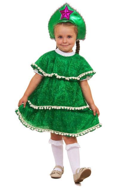 Маскарадный костюм «Ёлочка», подойдет для новогодних утренников и карнавальных вечеров.  В костюм входит: нарядное зелёное платье и корона. На рост 122см, плюс-минус.