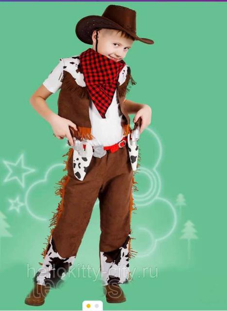 """Забавный сценический костюм """"Ковбой"""" состоит из шляпы, платка, жилета, штанов, позволяет полностью перевоплотиться в образ. Костюм подойдет для театральных постановок, новогодних и детских утренников. На рост 128-134"""
