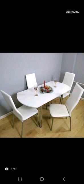 Обеденные зоны (один стол, четыре стула). Размер 120/70(в разложенном 150/70). Доставка!!! Самовывоз!!!