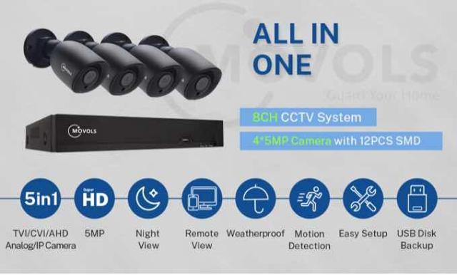 Видеонаблюдения полный комплект  Все провода в наличии 4 камеры 5 МП Полностью новое, даже не распакованное! Вы будете первый держателем  Есть функция дистанционного наблюдения. Запись при движении Функция охраны вещей Охрана территории