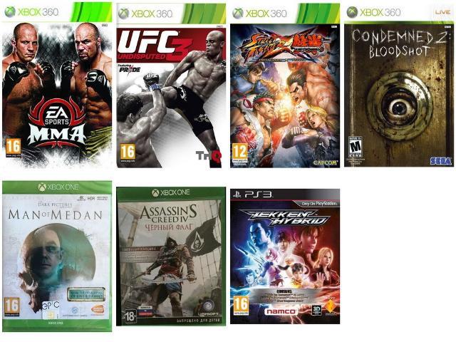 Куплю лицензионные игры: - Ea sports mma (Xbox 360) - UFC Undisputed 3 (Xbox 360) - Street fighter x Tekken (Xbox 360) - Condemned 2 (Xbox 360) - Man of medan (Xbox one) - Assassin creed Black flag (Xbox one) - Tekken hybrid (PS3) Цена договорная (в зависимости от критериев - состояние диска, наличие кейса, буклетов).