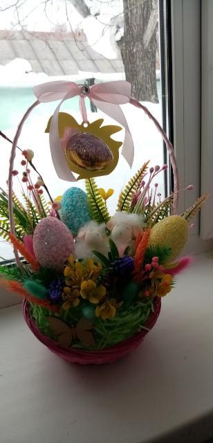 Пасхальная корзиночка в подарок своим родным на Светлый праздник Пасха. Ручная работа. г. Алдан