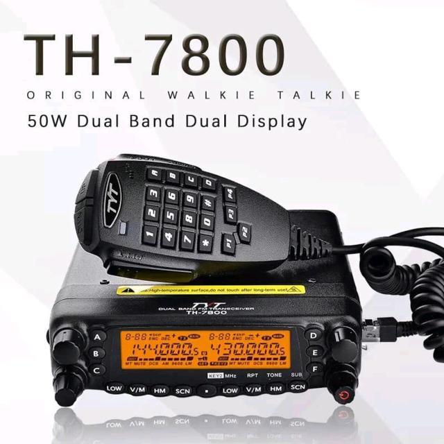 Мощная двухдиапазонная радиостанция TYT TH-7800, цена 16500 руб. Имеет два супергетеродинных приемника с двойным преобразованием частоты, которые обладают высокой чувствительностью и обеспечивают высокое качество связи в условиях интенсивных помех. Модель имеет съемную переднюю панель, что дает больше свободы при монтаже. TYT TH-7800 позволяет использовать два распространенных диапазона частот: 136-174 МГц (VHF) и 400-480 МГц (UHF), при этом она дает возможность следить за эфиром одновременно на двух каналах. Диапазоны частот на прием у нее еще шире: 108-180МГц (включает #авиадиапазон), 134-174 МГц и 350-520 МГц. Информативный монохромный дисплей и удобное меню помогут гибко настроить радиостанцию. Особенности: • Два приемника, тип - супергетеродин с двойным преобразованием частоты • Диапазоны частот (передача): 134-174 МГц и 400-480 МГц • Диапазоны частот (прием): 108-180 МГц, 134-174 МГц и 350-520 МГц • Память на 809 каналов • Шаг: 2.5 / 5 / 6.25 / 10 / 12.5 / 15 / 20 / 25 / 50 кГц • Сопротивление антенны: 50 Ом • Выходная мощность до 50 Вт. Уровни выходной мощности: 50/20/10/5 Вт (144); 40/20/10/5 Вт (430) • Съемная передняя панель • Cross-band ретранслятор  Комплектация: • радиостанция • тангента • кабель питания • монтажная скоба • руководство пользователя на английском языке