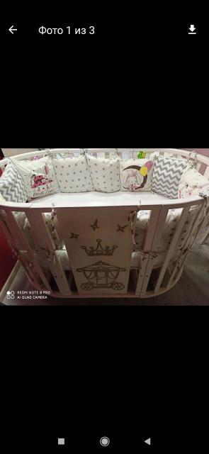 Детская кроватка трансформер 7в1 с маятником (есть царапинки)+ 2матраса (круглый,овал,чистые)+наматрасники  и бортики в подарок .Самовывоз с центра