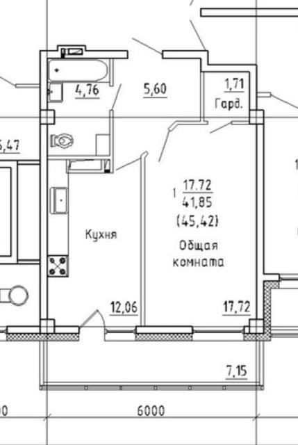 Продаю однокомнатную квартиру в доме 2020 г.п. 7 этаж из 9ти. Жилая площадь 41,9 м2 + 7,15 м2 застеклённой лоджии. Остановка рядом ( 14,17,18,108). Один собственник, без долгов и обременения. Разумный торг при осмотре. Конт. Тел: 89141012222.
