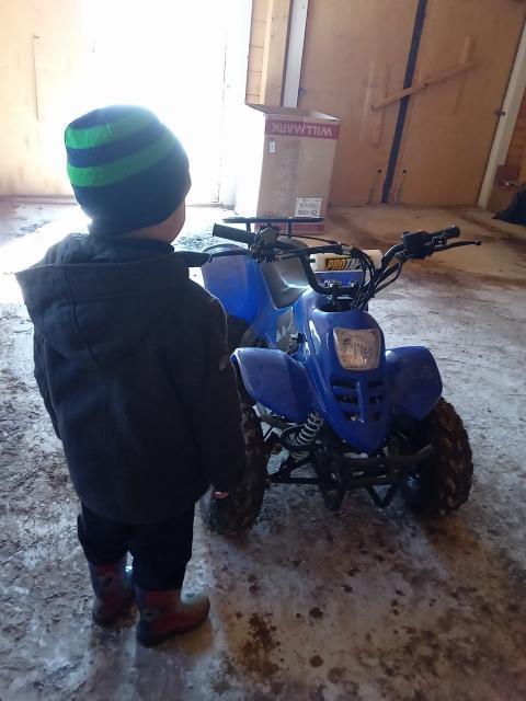Продам новый детский квадроцикл раптор 110 кубов коробка автомат перед и назад едет  ребёнку на фото 5 с половиной лет ещё маленький боится вот и продаётся торга нет