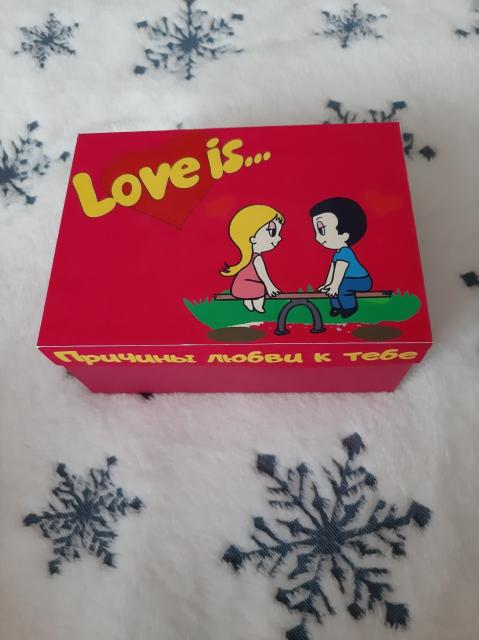 Оригинальный подарок.....Коробочка Love is в синем и розовом цвете(Для НЕГО и для НЕЁ).С причинами любви (50 штук), жвачками Love is(5шт) Есть доставка.