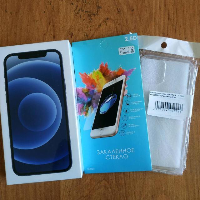 Продаю iPhone 12 128Gb чёрный в упаковке + силиконовый чехол + защитное стекло